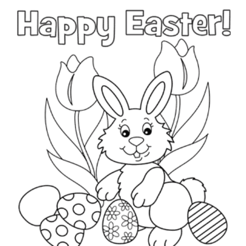 Happy Rabbit Jumping coloring page | Free Printable Coloring Pages | 500x500