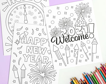 New Year Coloring Pages 2021 Free Printable Coloring Sheets Download